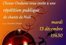 Mardi 13 décembre, répétition publique